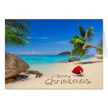 Merry Christmas With Santa Hat In The Tropics Greeting Card