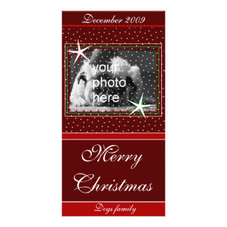 Merry Christmas with snow Customized Photo Card
