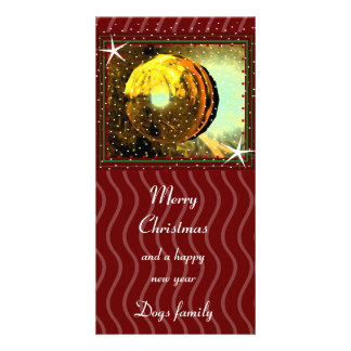 Merry Christmas with snow Photo Greeting Card