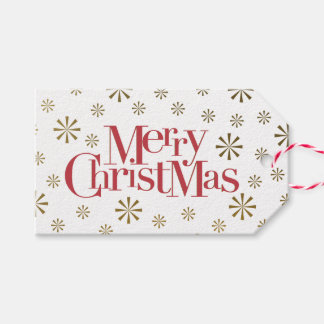 Merry Christmas with Snowflakes Holiday Gift Tags