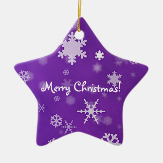 Merry Christmas with snowflakes lavender Ceramic Star Decoration