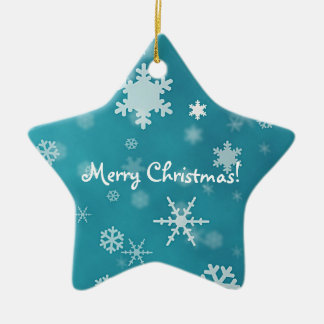 Merry Christmas with snowflakes turquoise Ceramic Star Decoration