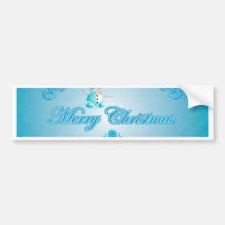 Merry christmas with snowman and decorative floral bumper stickers