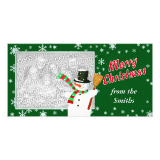 Merry Christmas with Snowman Photo Frame Photo Card Template
