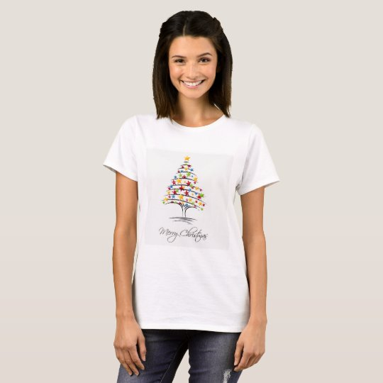 Merry Christmas with stars on tree T-Shirt
