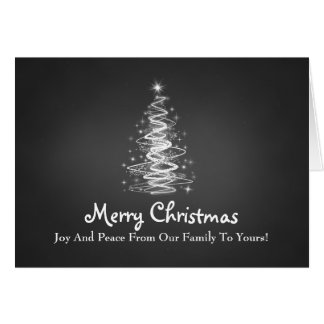 Merry Christmas with Tree sparkles in black Greeting Cards