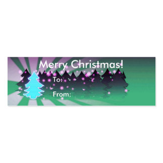 Merry Christmas With Trees Tag Business Card Template