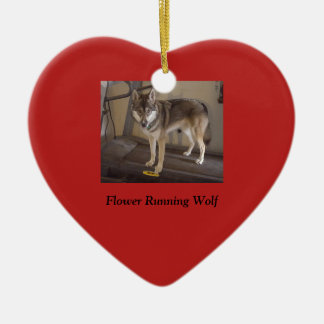 Merry Christmas wolf Ceramic Heart Decoration