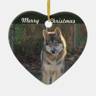 Merry Christmas wolf Christmas Ornament