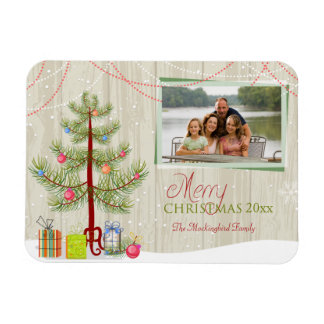 Merry Christmas wood plank holiday photo magnet