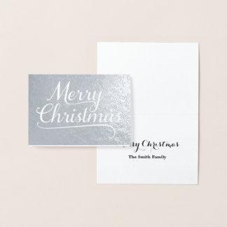 Merry Christmas Word Art Silver Foil Card