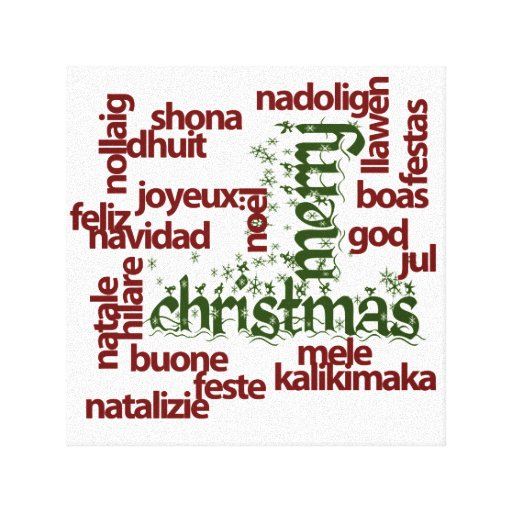 Merry Christmas Word Cloud Canvas Prints