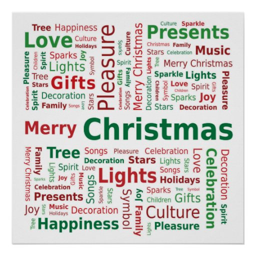 Merry Christmas Word Cloud in Green Red Colors Print