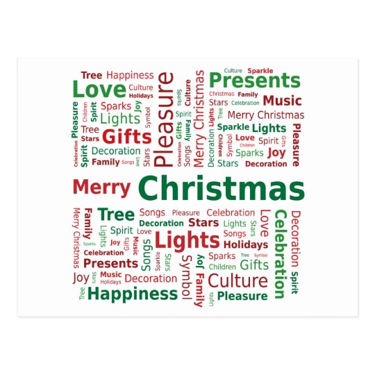 Merry Christmas Word Cloud in Green Red Colours
