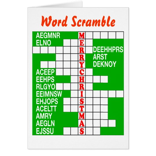 Merry Christmas Word Scramble Card