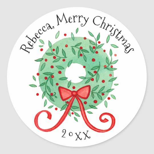 Merry Christmas Wreath Add Name and Year Classic