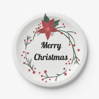 Merry Christmas Wreath and Holly Plate