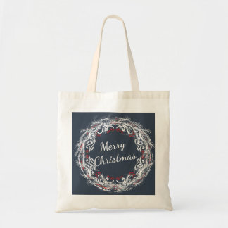 Merry Christmas Wreath Budget Tote