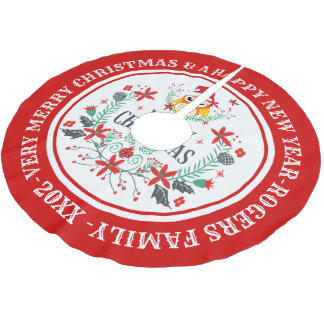Merry Christmas Wreath & Cute Owl Brushed Polyester Tree Skirt