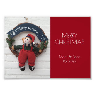 Merry Christmas Wreath Cute Teddy Bear Photography Photo Print