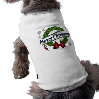 Merry Christmas Wreath Dog Tshirt