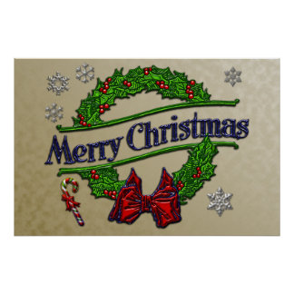 Merry Christmas Wreath Gold Background Poster