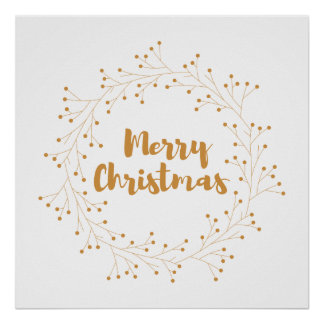 Merry Christmas wreath - golden Poster