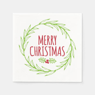 Merry Christmas Wreath Holiday Napkins Disposable Serviettes