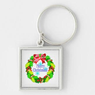 Merry Christmas Wreath Key Chains