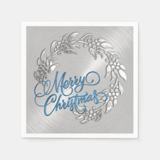 Merry Christmas Wreath Paper Napkin