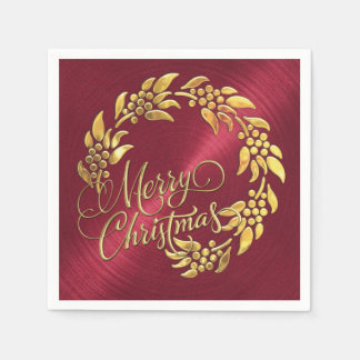 Merry Christmas Wreath Paper Napkins