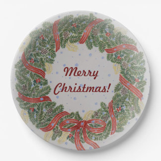 Merry Christmas Wreath Paper Plate