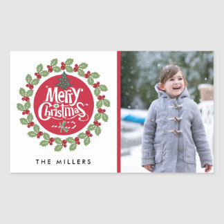 Merry Christmas Wreath Photo Holiday Sticker