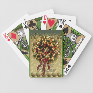Merry Christmas wreath playing cards