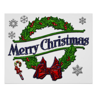 Merry Christmas Wreath Poster