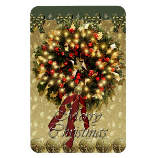 Merry Christmas wreath Premium Magnet