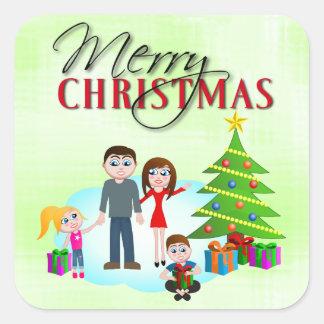 Merry Christmas Xmas Morning Square Stickers
