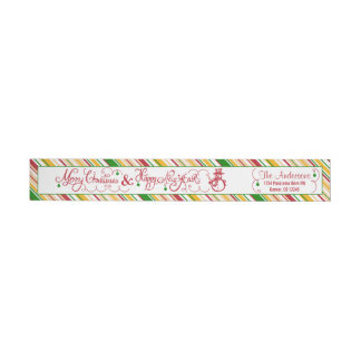 Merry Christmas Xmas Snowman Stripe Return Address Wrap Around Label