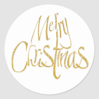 Merry Christmas Xmas white gold Classic Round Sticker