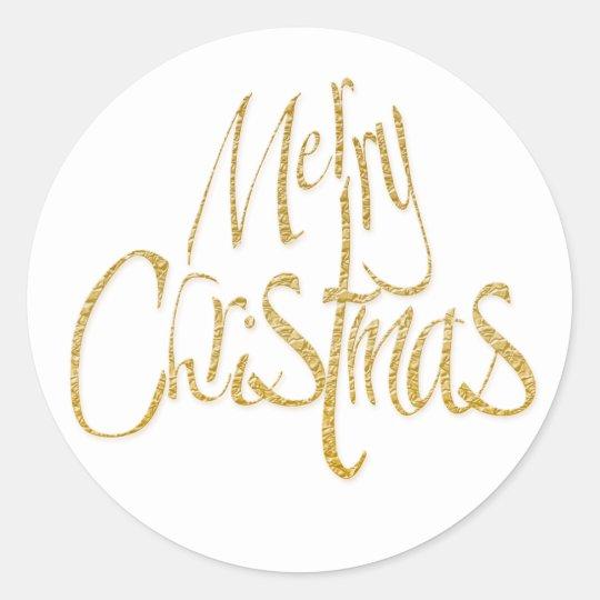 Merry Christmas Xmas white gold Classic Round Sticker