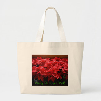 Merry Christmas, Yall! Poinsettias Canvas Tote Canvas Bags