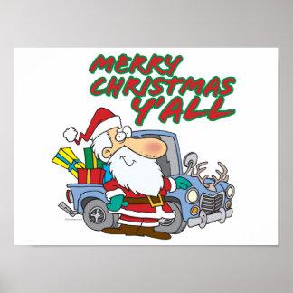 merry christmas yall redneck santa poster