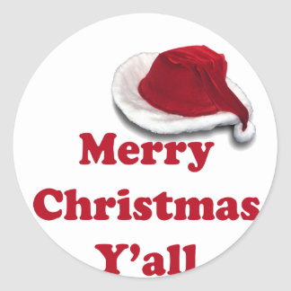 Merry Christmas Y'all! Round Sticker