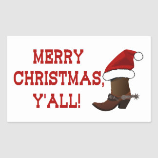 Merry Christmas Y'all - Santa Boot Stickers