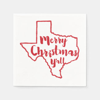 Merry Christmas Y'all Texas State Napkins Disposable Serviette