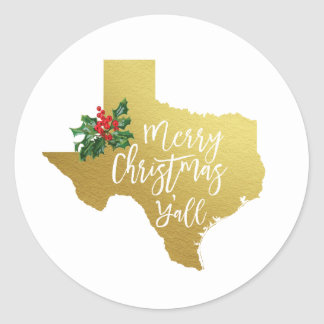 Merry Christmas Y'all Texas Sticker