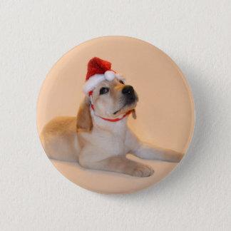 Merry Christmas - Yellow Lab 6 Cm Round Badge