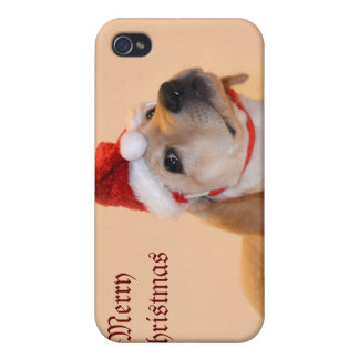 Merry Christmas - Yellow Lab iPhone 4 Case