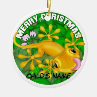 Merry Christmas Yellow Lizard Christmas Ornament
