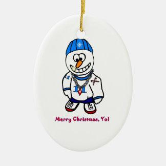 Merry Christmas Yo, Rapper Snowman Ceramic Oval Decoration